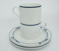 Dansk Bistro Maribo Set of 2 Stacking Cups Mugs and Saucers Berries Blue Band - $12.86