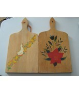 VTG Lot 2 Wood Wooden Paddle Cutting Board Wall Decor Painted Flowers De... - €13,09 EUR