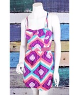 American Eagle 0 XS Pink Blue Embroidered Criss Cross Boho Pinup Dress F... - $24.74