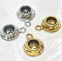 DOG BOWL FINE PEWTER PENDANT CHARM - 12mm L x 17mm W x 4mm D