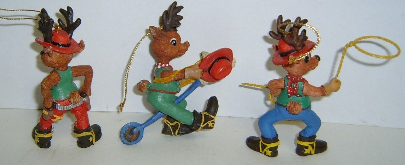 3 Rootin' Tootin' Western Cowboy Reindeer Ornaments