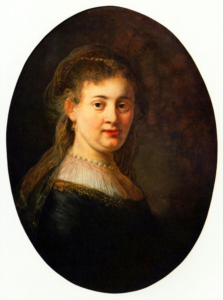 The Museum Outlet - Portrait of Saskia with veil, Oval by Rembrandt, Stretched C