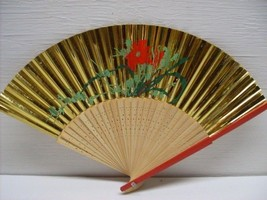 Vintage Asian Hand Painted Gold Floral Hand Folding Fan # 40 - $12.99