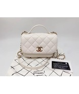 AUTHENTIC CHANEL 2018/2019 WHITE 2-WAY QUILTED CAVIAR  FLAP BAG GHW - $3,799.99