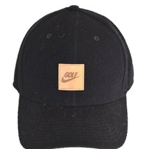 Nike Golf Hat Black Tan Leather Patch Logo on the Front One Size Fits All  - $22.79