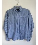RALPH LAUREN Blue Label Blue Striped Slim Fit Pearl Snaps Shirt Top Size 4 - $19.79