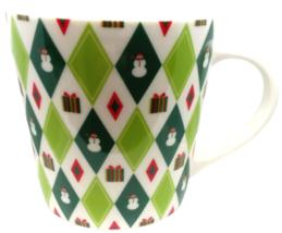 Starbucks Barista 2003 Happy Holidays Christmas Snowman Coffee Mug Green Diamond - $17.15