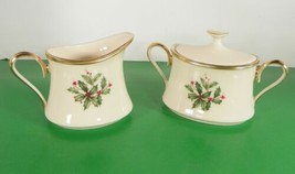 Lenox Dimension HOLIDAY Creamer and Sugar Bowl with Lid Holly Berry image 2