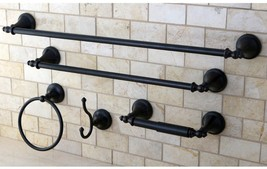 Bathroom Hardware Set 5 Piece Accessory Oil Rubbed Bronze Towel Bar Robe... - $102.55