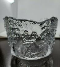 "Art Glass Bowl Embossed Dancing Couple Trees 4""×5.5"" Original Sticker EUC  - $19.99"