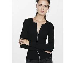 Express ribbed zip-front cardigan fitted Jacket BLACK Medium NWT - $69.20