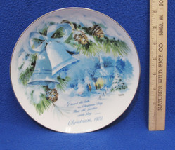 1978 Christmas Plate American Greetings Collectors Winter Bells Longfellow Quote - $11.87