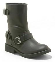 Girls Black Stevies Vegan Buckle Zippered #Rockout Moto Boots Sz 5 or 6 NWT