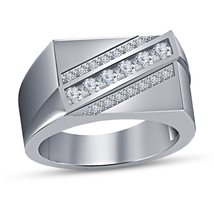 10K White Gold Finish Solid 925 Silver Round Cut White Diamond Pinky Band Ring - £76.26 GBP
