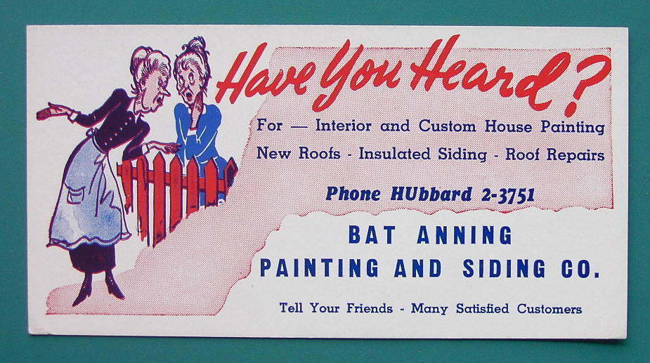 INK BLOTTER 1940s - Painting & Siding Bat Anning Hubbard California
