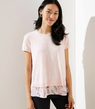 LOFT Leafy Scalloped Back Mixed Media Sweater Belle Rose New - $29.99