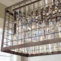 Restoration Industrial Crystal & Metal Hardware Cage Linear Island Chandelier - $810.81