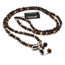 Silver Necklace 925 with Snake and Tiger's Eye Made in Italy by Maschia image 1