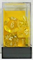 Chessex 7 Piece Dice Set Translucent Yellow w/White 23002 D4 D6 D8 D10 D... - $5.49