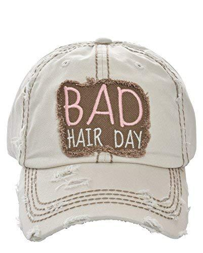 Private Label Distressed Embroidered Bad Hair Day Baseball Hat (Stone)