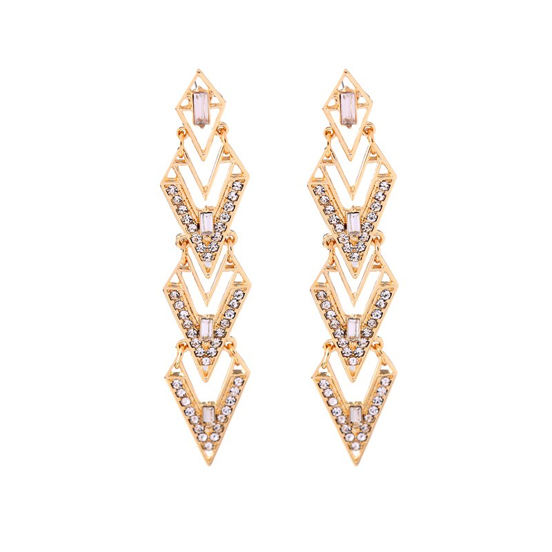 Owed out crystal geometric earrings fashion dress match women party earrings statement jewelry 1