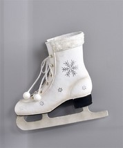 Hanging Figure Skate Design Planter w Silver Snowflake Accents & Faux Fur Cuff