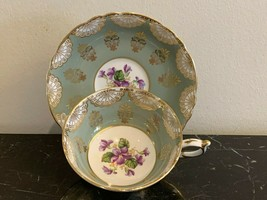 Paragon Bone China Green Gold Cup and Saucer with Purple Floral Decoration - $59.00