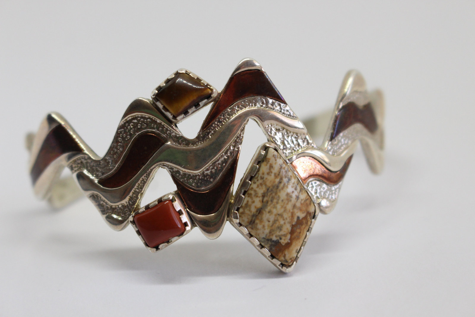 Carolyn Pollack Sterling Silver and Copper Cuff Bracelet- Zig Zag Sterling Silve