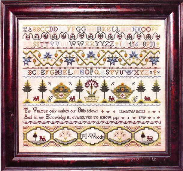 Primary image for M. Woods 1759 sampler cross stitch chart Milday's Needle