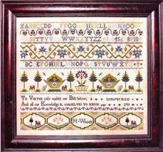M. Woods 1759 sampler cross stitch chart Milday's Needle - $18.00