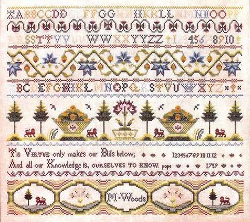 M. Woods 1759 sampler cross stitch chart Milday's Needle