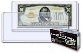 BCW Semi-Rigid Large Size Currency Holders  ( QTY = 50 sleeves per pack) - $19.95