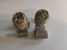Vintage Swank Cufflinks Silver Tone Swirl w/ Smoky Gray Rhinestones Mesh... - $6.36
