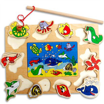 Cute Creative Puzzle Wooden Magnetic Fishing Game 3D Jigsaw Puzzle Toy - $16.68