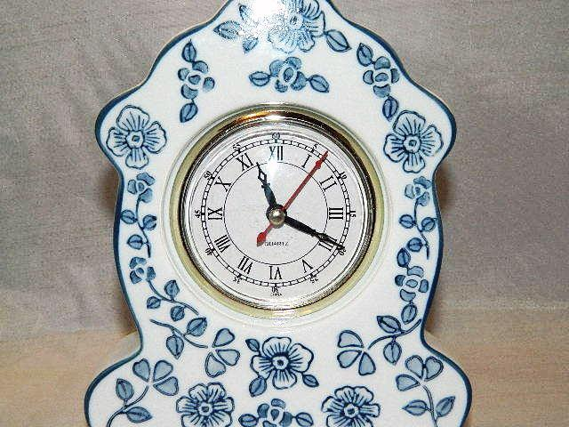 Floral Pattern Porcelain Blue & White Mantle / Shelf Clock by WMG - Beautiful!