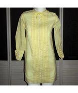 Vintage Mod 60s Twiggy Tuxedo Front Shirt Dress 70s Pleated Shift Mini D... - $86.99