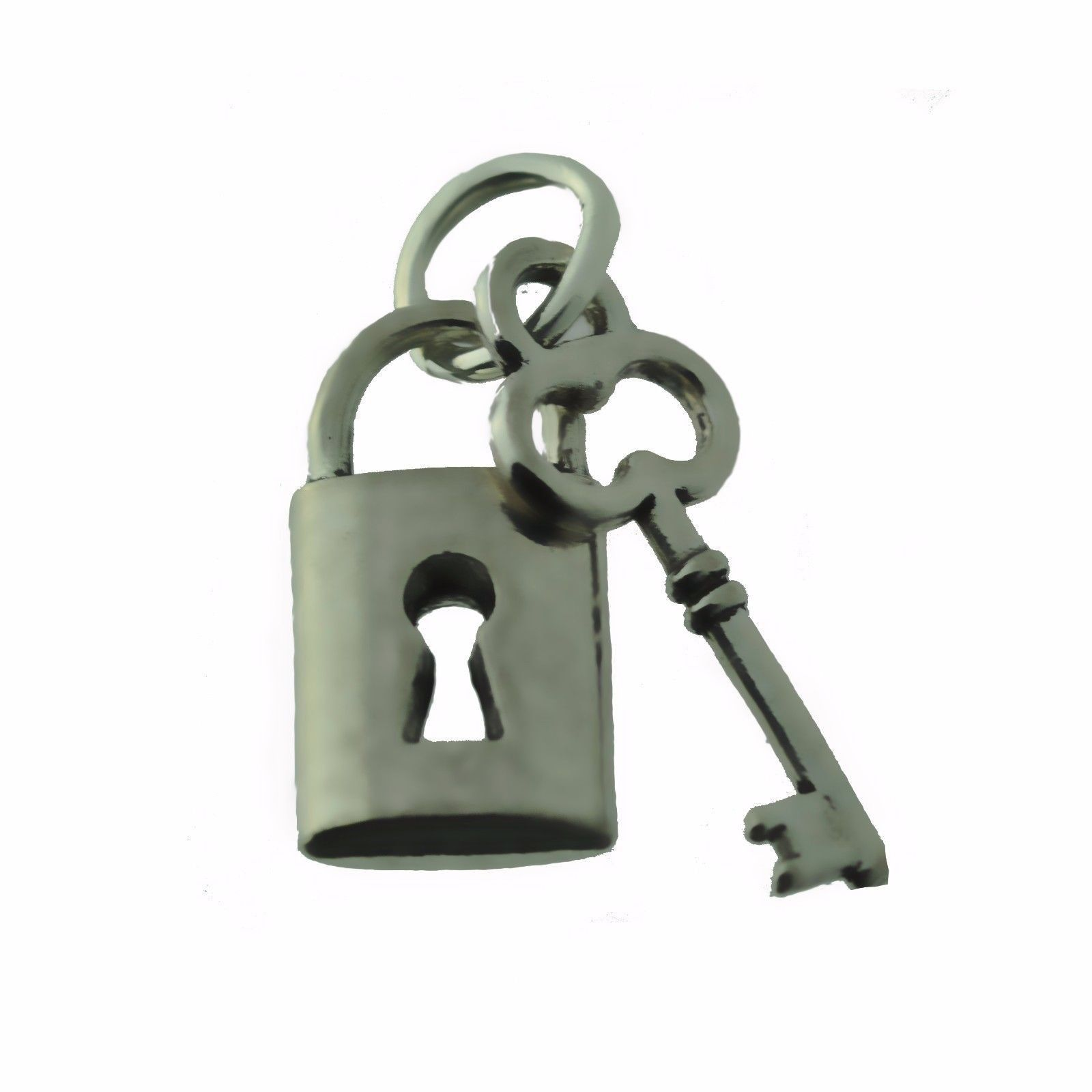 NICE Sterling Silver 925 Charm Lock and Key Split give to someone you love Jewel