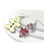 Crystal and Epoxy Christmas Candy Cane And Ging... - $8.00