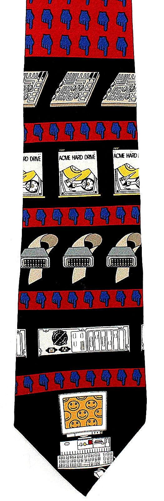 Vicky Davis Mens Silk Necktie Hard Drive Red Neck Tie Computer Geek Internet New