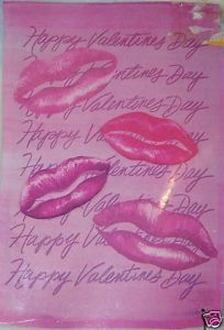 Valentine Day Kiss Lips Flag NEW 28 x 40 Inches Pink
