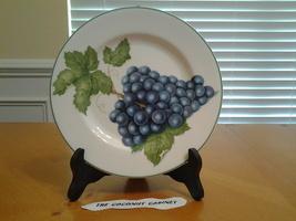 "American Atelier Vineyard  5039 Porcelian  Plate 8.25"" Blue Grapes , Exc... - $5.35"