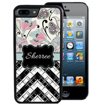 PERSONALIZED RUBBER CASE FOR iPHONE XR XS MAX X 8 7 PLUS PINK FLOWERS CH... - $13.98