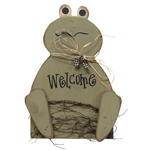 Wooden WELCOME FROG SIGN Plaque Easter Spring Primitive Country Rustic Summer
