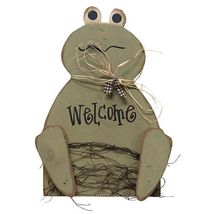Wooden WELCOME FROG SIGN Plaque Easter Spring Primitive Country Rustic S... - $38.99
