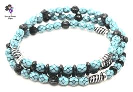 Turquoise Black Faceted Snakeskin Beaded Stack Bracelets, Set of 3 - $13.25