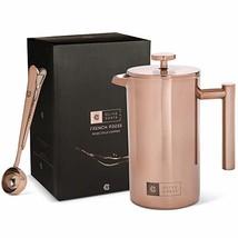 Copper French Press Coffee Maker, Measuring Spoon and Clip - Portable, M... - $46.21