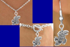 KANSAS UNIVERSITY JAYHAWKS College KU NCAA Necklace Bracelet Earring Mom... - €6,69 EUR