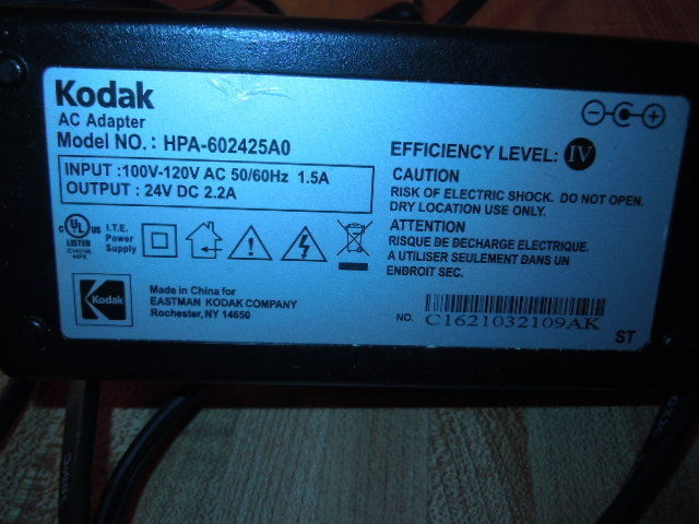 Kodak OEM EasyShare Printer AC Adapter Power Supply HPA-602425A0