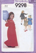Simplicity 9298 Child's Dress in 2 Lengths and Belt Size 3 Vintage 1979 - $4.99