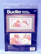 "Bucilla Playful Pals #40488 Stamped Cross Stitch Kit 16"" x 8"" 1990 NIP - $9.99"